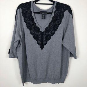 Lane Bryant Grey With Black Lace V-Neck Sweater